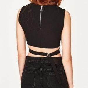 a17ddd9b4cc6d Zara Tops - Zara Black Crop Top Side Cutout Buckle Back Black
